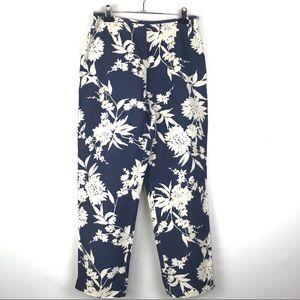 Liz Claiborne Blue White Floral Capris Pants Size6